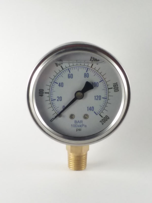 "0-2000PSI/BAR-KPA LM 2-1/2"" Liquid Filled Gauge"