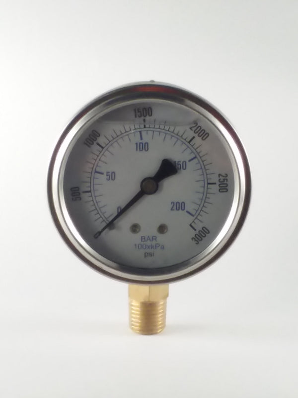 "0-3000PSI/BAR-KPA LM 2-1/2"" Liquid Filled Gauge"
