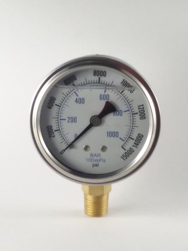 "0-15000PSI/BAR-KPA LM 2-1/2"" Liquid Filled Gauge"