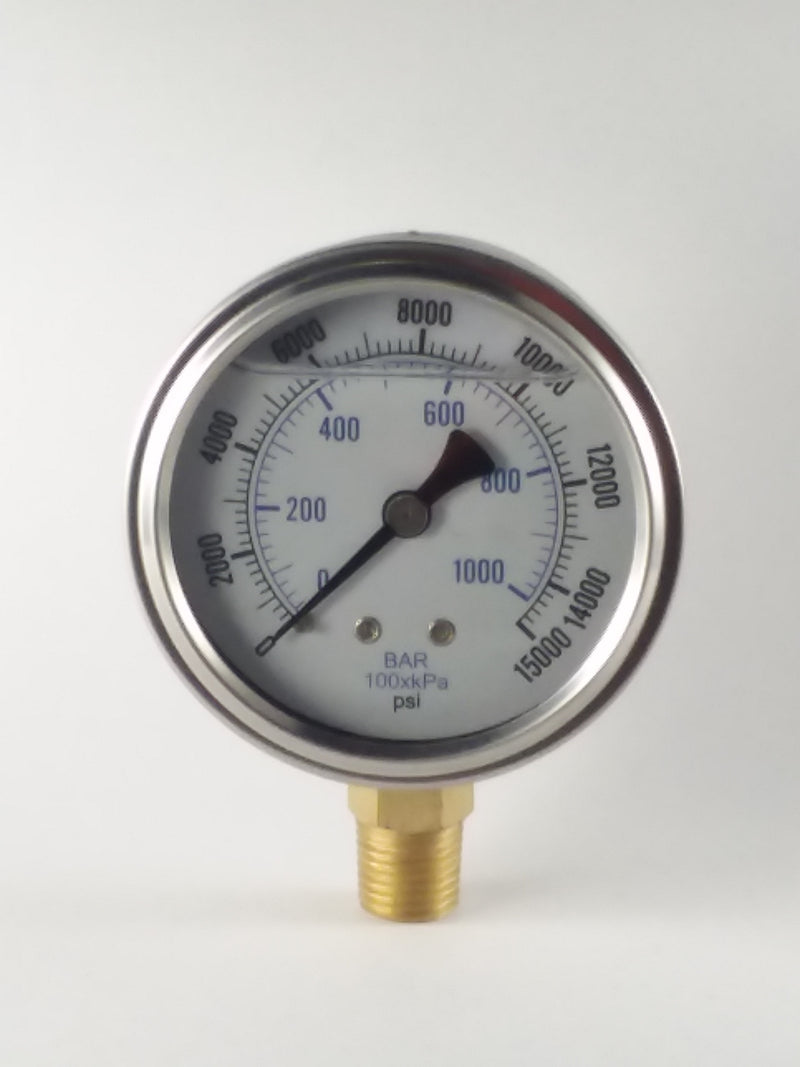 "2-1/2"" Liquid Filled Gauge 0 to 15,000 PSI"