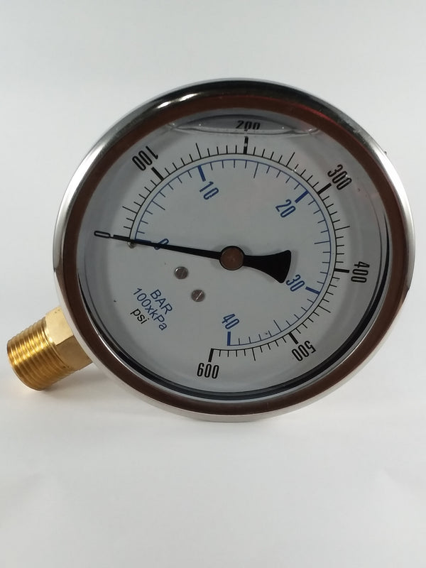 "0-600PSI/BAR-KPA LM 4"" Liquid Filled Gauge"
