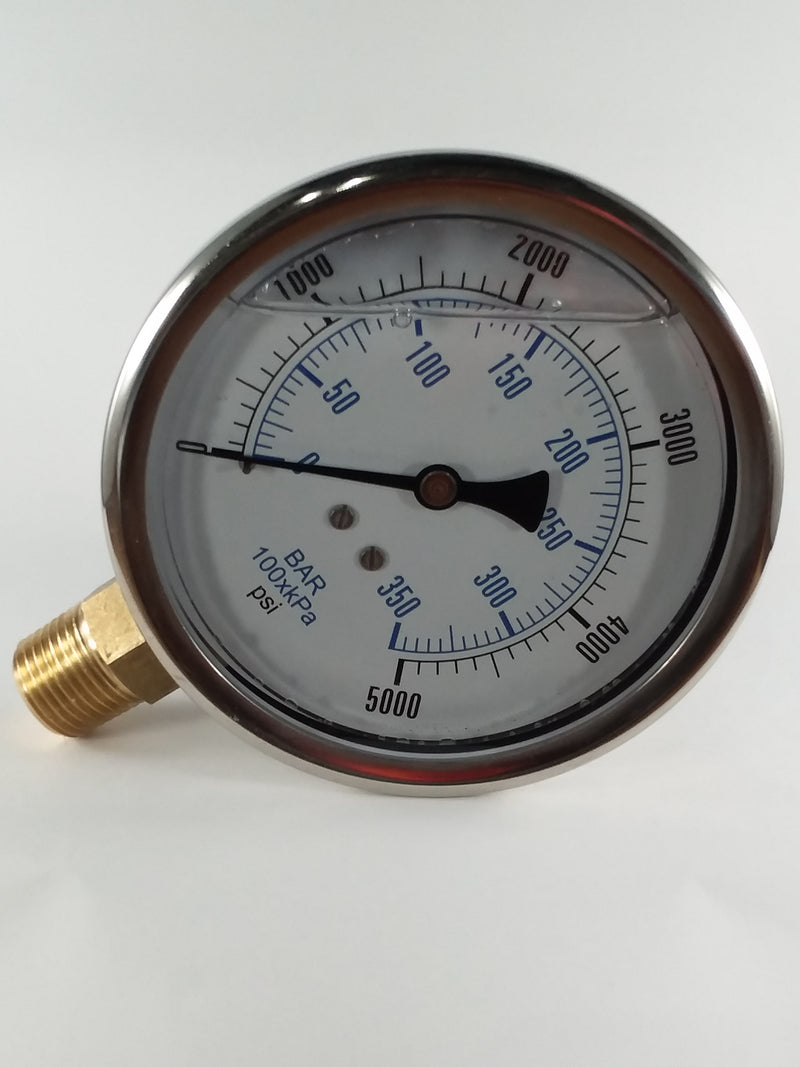 "0-5000PSI/BAR-KPA LM 4"" Liquid Filled Gauge"