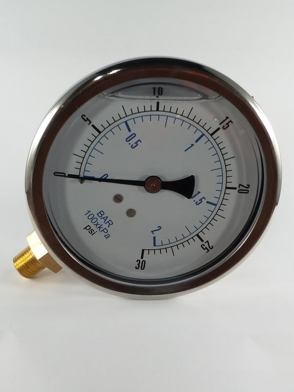 "0-30PSI/BAR-KPA LM 4"" Liquid Filled Gauge"