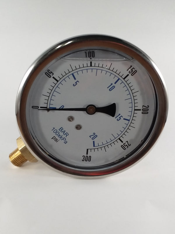 "0-300PSI/BAR-KPA LM 4"" Liquid Filled Gauge"