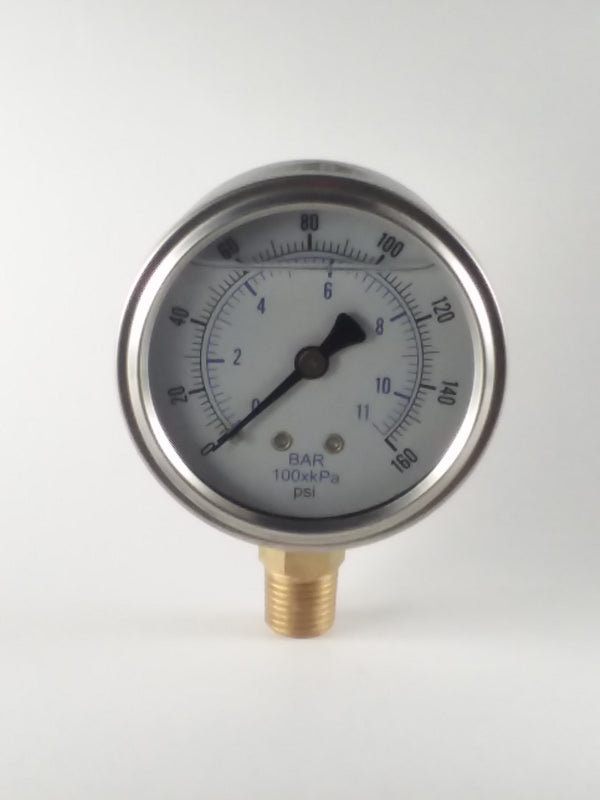 "0-160PSI/BAR-KPA LM 2-1/2"" Liquid Filled Gauge"