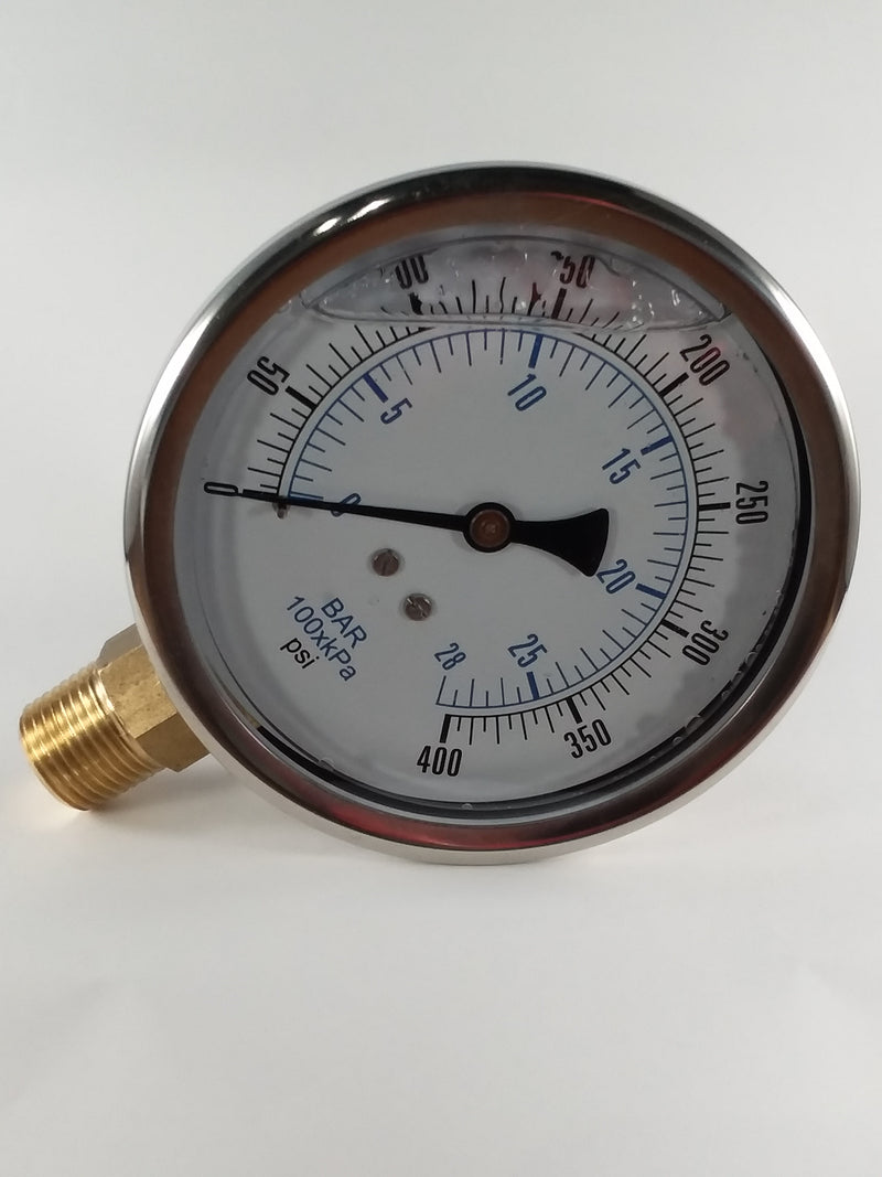 "0-400PSI/BAR-KPA LM 4"" Liquid Filled Gauge"