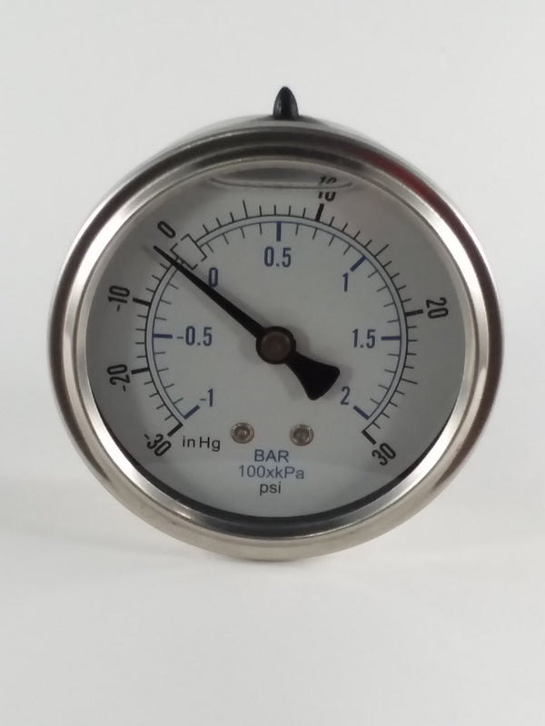 "2-1/2"" Liquid Filled Gauge -30 to 30 PSI"