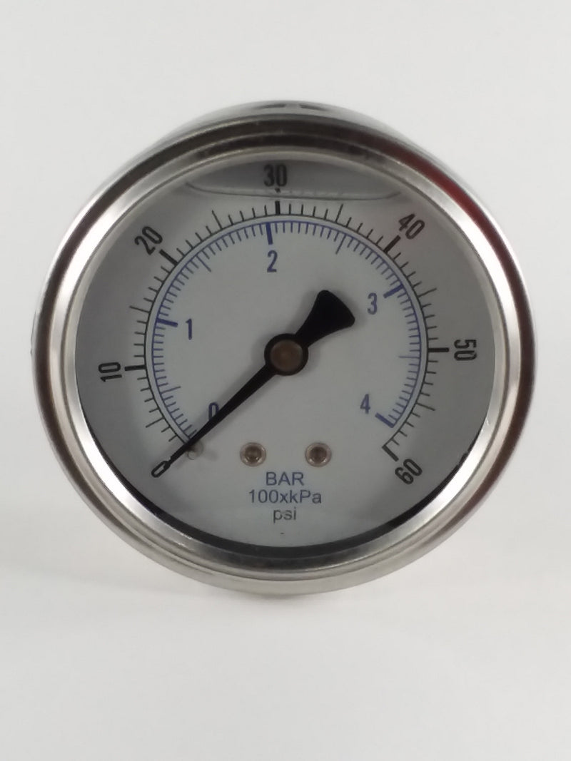 "0-60PSI/BAR-KPA CBM 2-1/2"" Liquid Filled Gauge"