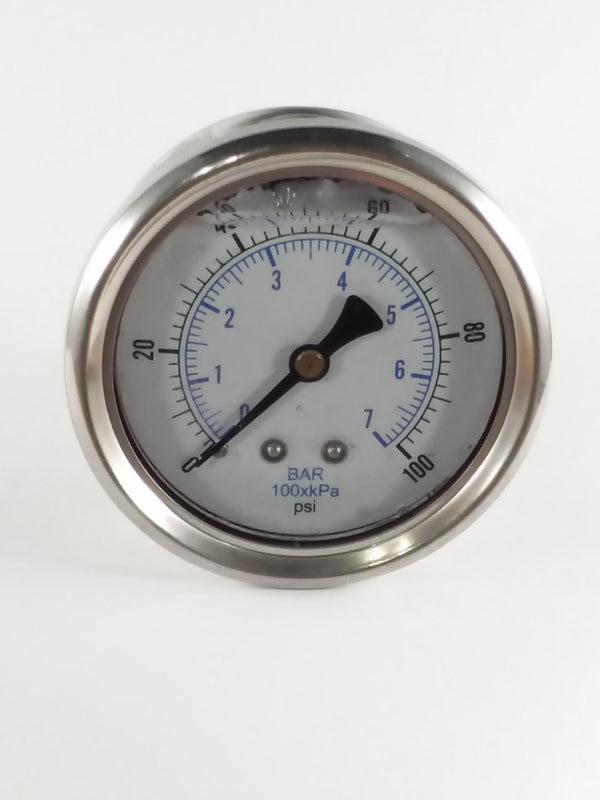"0-100PSI/BAR-KPA CBM 2-1/2"" Liquid Filled Gauge"