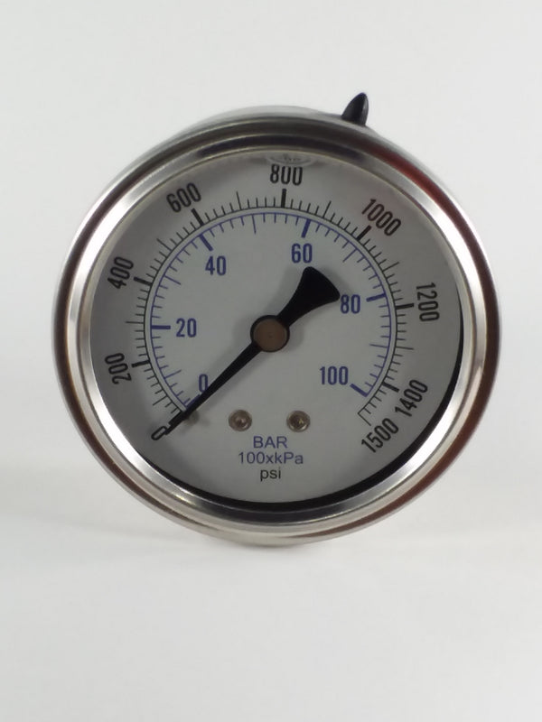 "0-1500PSI/BAR-KPA CBM 2-1/2"" Liquid Filled Gauge"