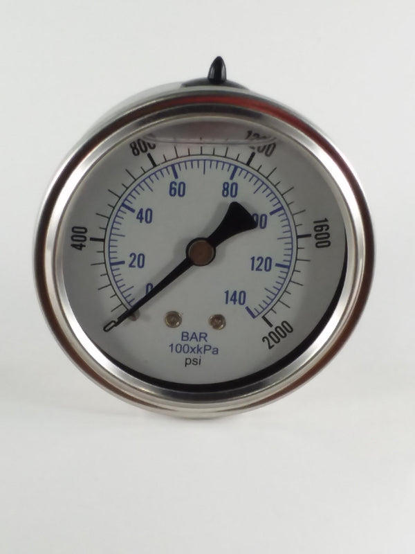 "0-2000PSI/BAR-KPA CBM 2-1/2"" Liquid Filled Gauge"