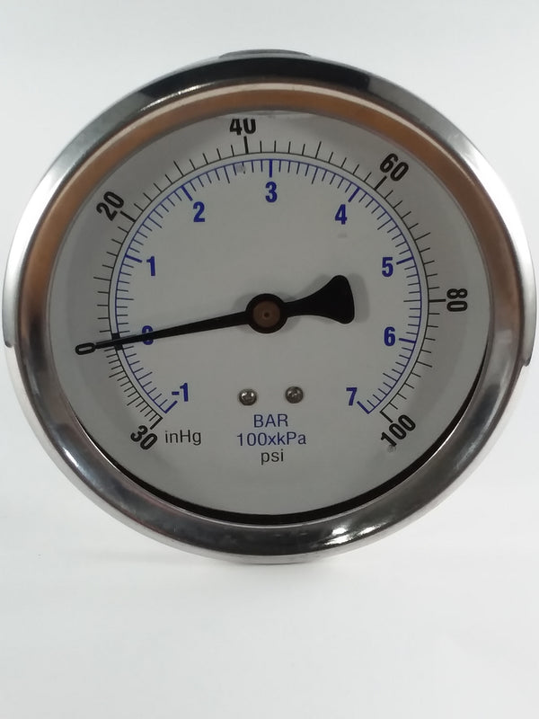 "-30-100PSI/BAR-KPA CBM 4"" Liquid Filled Gauge"