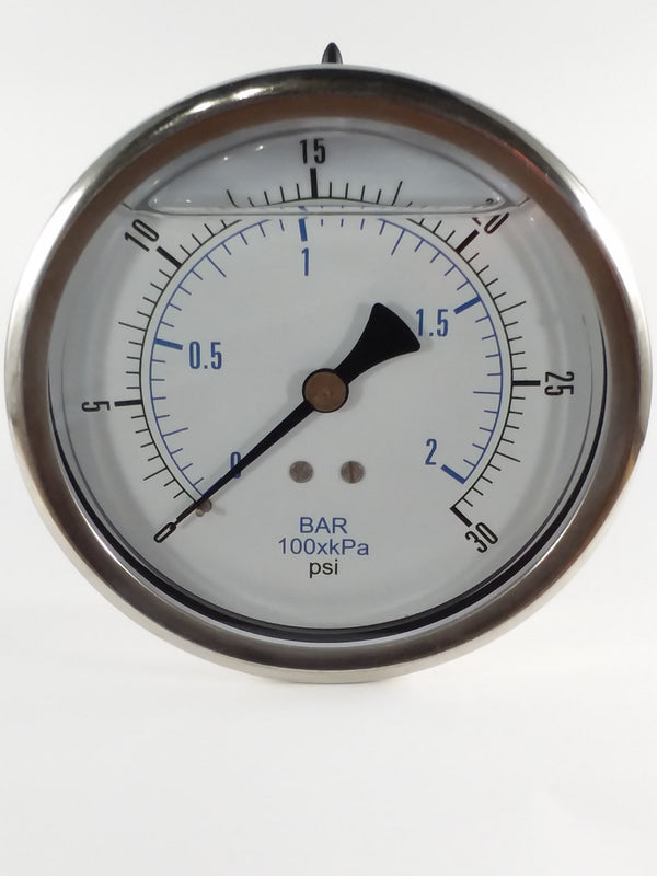 "0-30PSI/BAR-KPA CBM 4"" Liquid Filled Gauge"