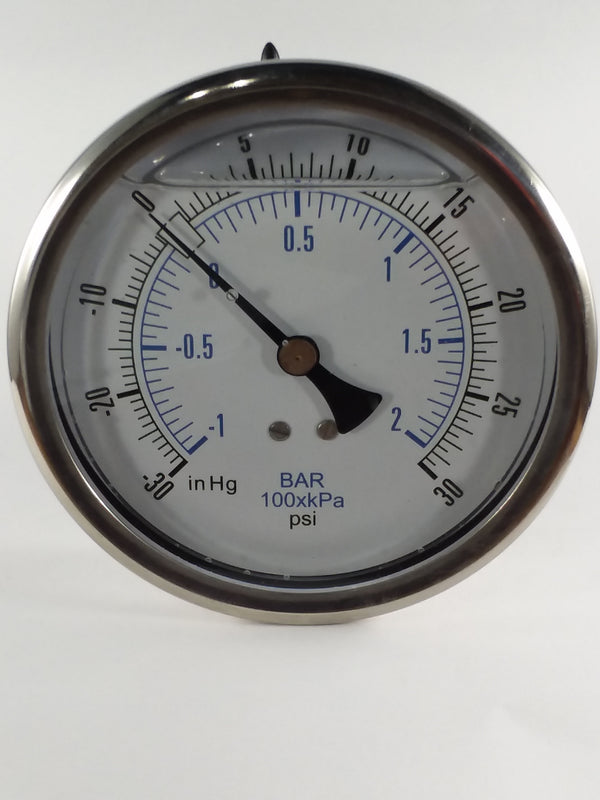 "4"" Liquid Filled Vacuum Gauge -30 to 30 PSI"