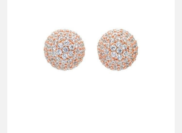Hillberg & Berk 10mm Sparkle Ball Stud Earrings - Rose Gold