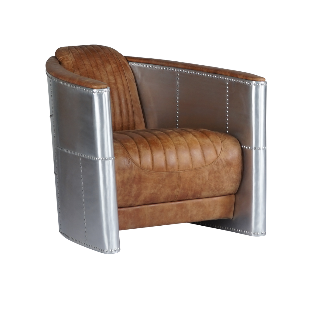 Leather Chair With Armrests, Aluminum - Aviation