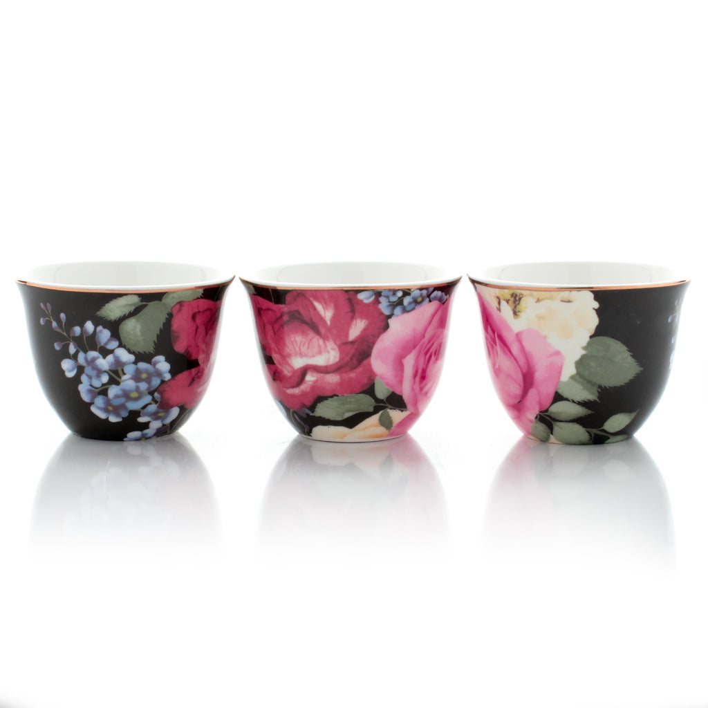 Arabic Coffee Cups - Flowers - Set Of 12