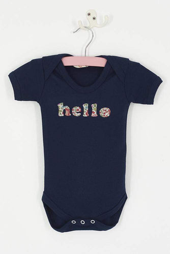 Magnificent Stanley Bodysuit 'hello' Navy Bodysuit in choice of Liberty Print