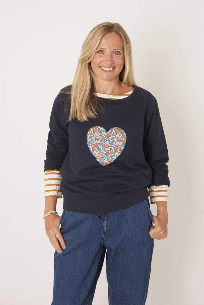 Magnificent Stanley Ladies Sweatshirt Heart Navy Ladies Sweatshirt in your Choice of Liberty Print