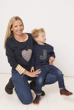 Load image into Gallery viewer, Magnificent Stanley Ladies Sweatshirt Heart Navy Ladies Sweatshirt in your Choice of Liberty Print
