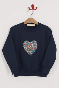 Magnificent Stanley sweatshirt Heart Grey or Navy Sweatshirt in Choice of Liberty Print
