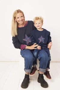 Magnificent Stanley sweatshirt Star Grey or Navy Sweatshirt in Choice of Liberty Print