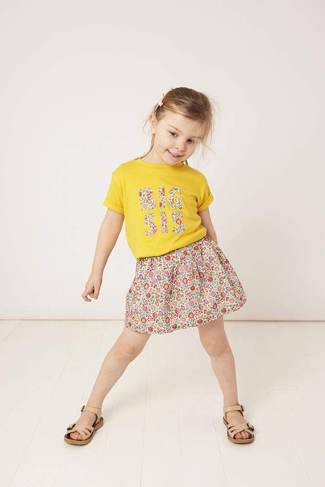 Magnificent Stanley Tee BIG SIS / BIG BRO Yellow T-Shirt in Choice of Liberty Print