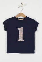 Load image into Gallery viewer, Magnificent Stanley Tee Number Navy T-Shirt in Betsy Butterfly Rose Liberty Print