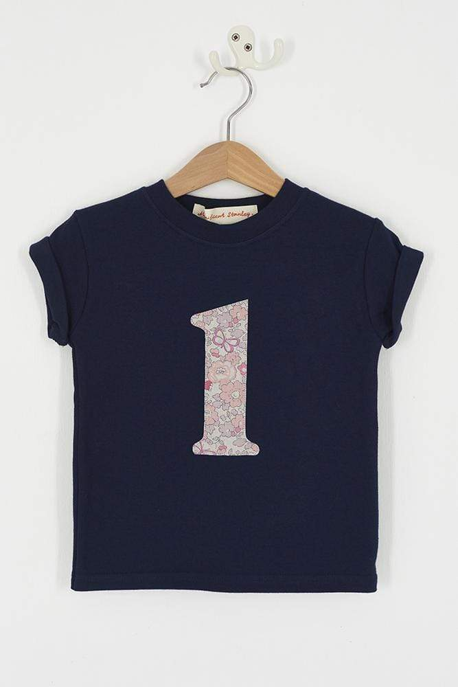 Magnificent Stanley Tee Number Navy T-Shirt in Betsy Butterfly Rose Liberty Print