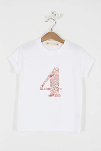 Magnificent Stanley Tee Number White T-Shirt in Betsy Butterfly Rose Liberty Print