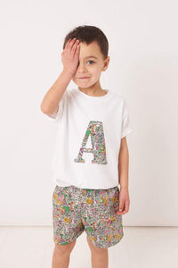 Magnificent Stanley Tee Personalised White T-Shirt in London Fields Liberty Print