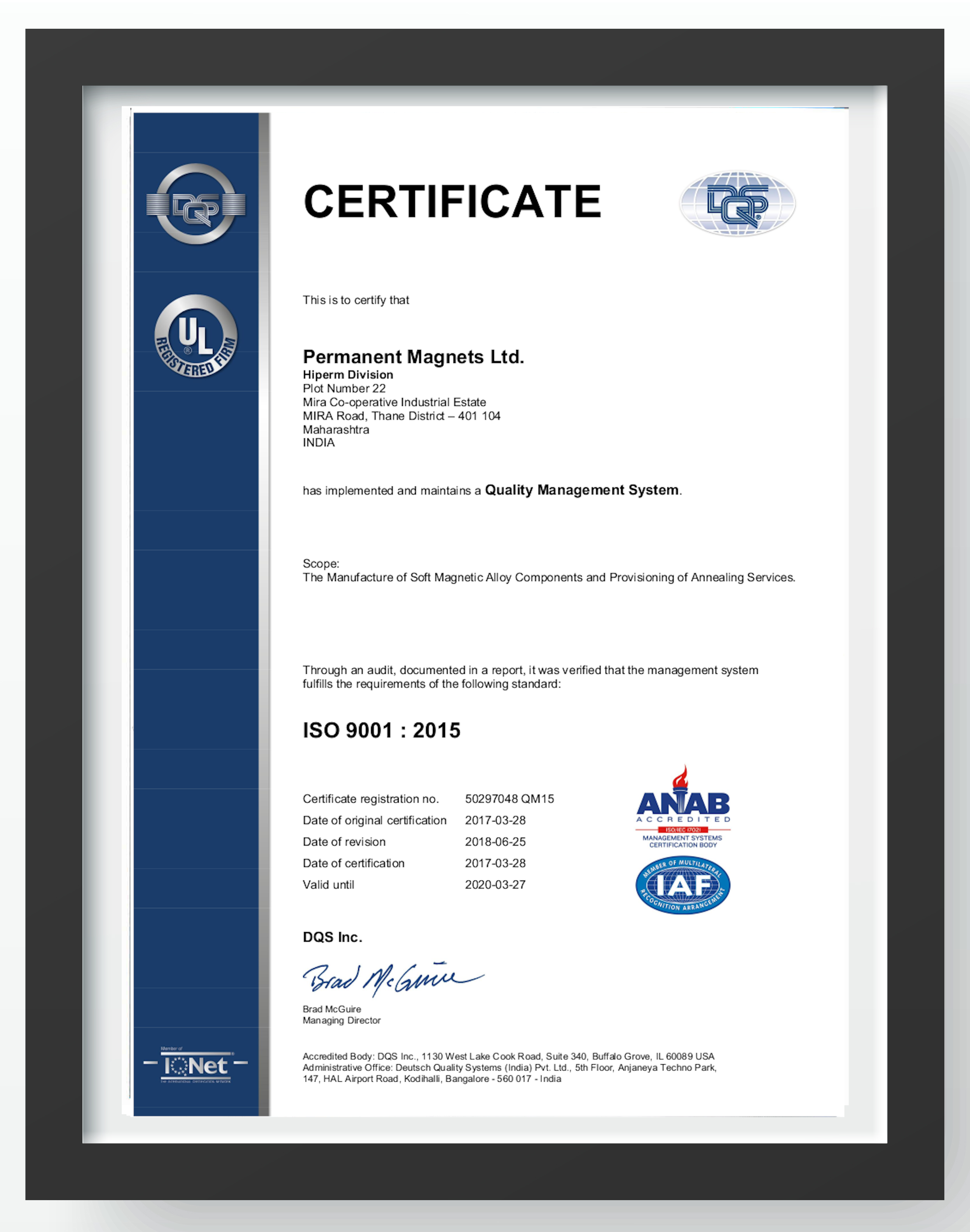 HIPERM QMS ISO 9001:2015 Policy