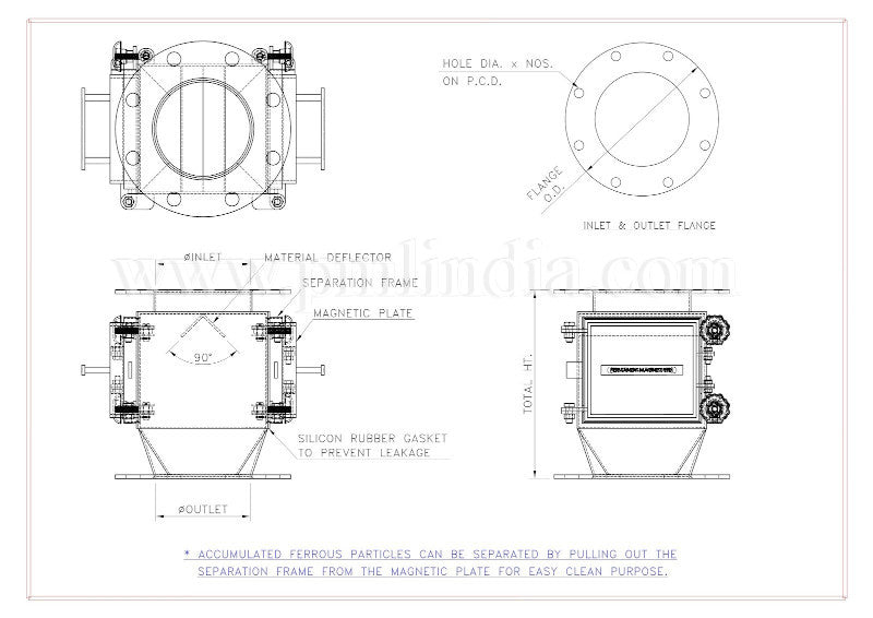 Plate Type Magnetic chute drawing