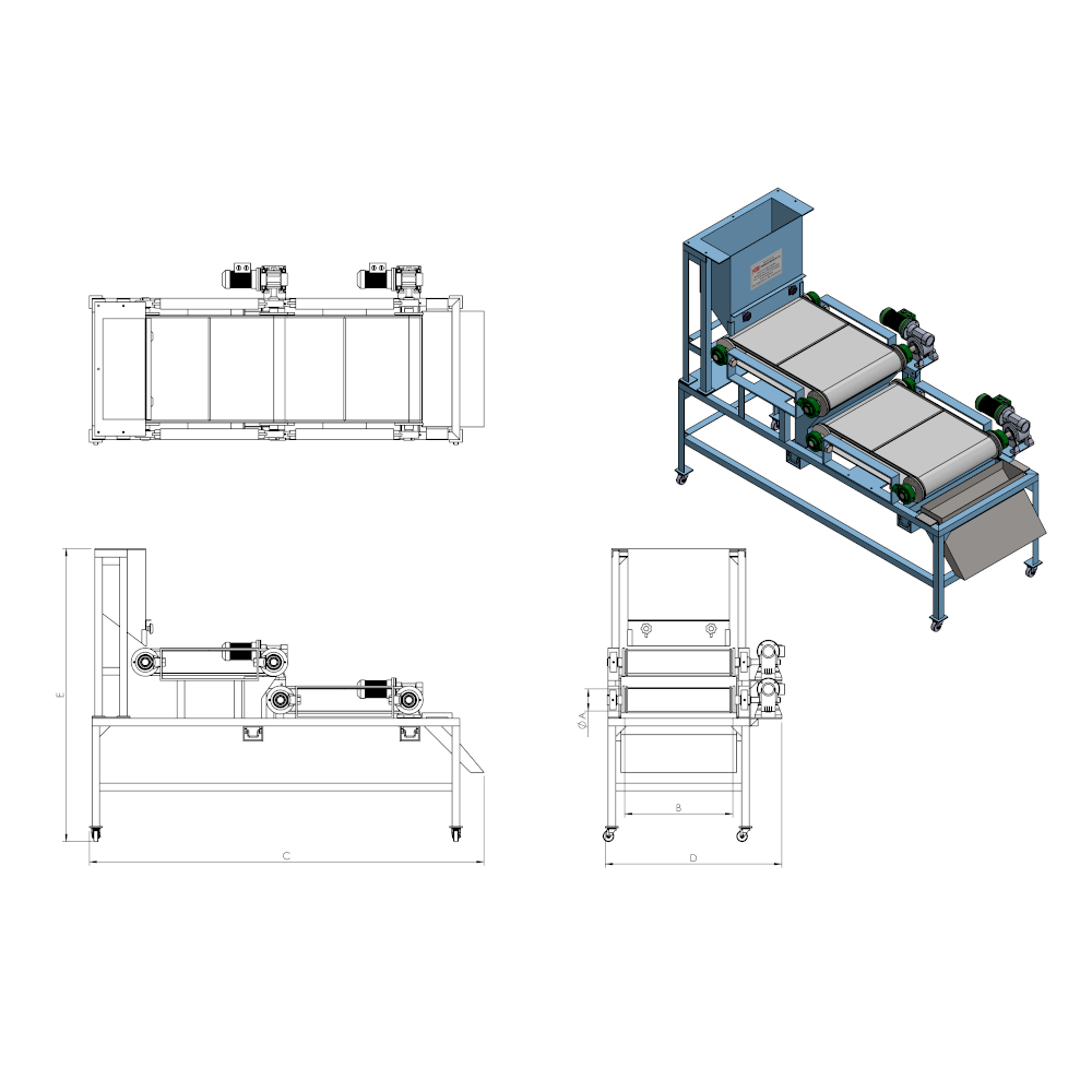 High Intensity Double stage Roll type Magnetic Separator