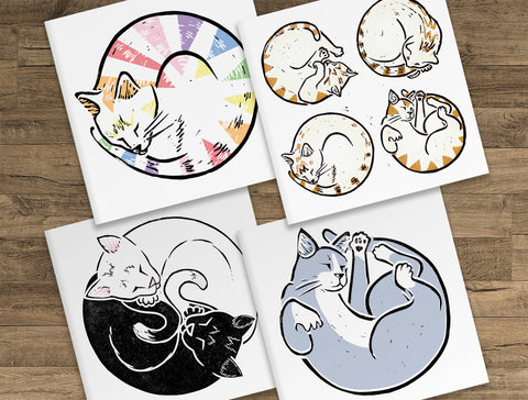 Cat Greeting Cards 4 Design Set - purrfect cat present!