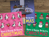 Brighton & Hove Christmas Cards, 3 Pack - Festive Brighton Sights! The humorous cards featuring Hipsters, Seagulls and the i360.