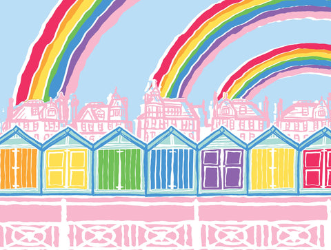 Hove Beach Huts Rainbows