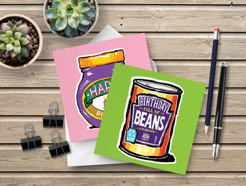 Vegan Birthday Card 2 pack - fun & colourful vegetarian birthday cards - baked beans and Marmite designs. Perfect for a vegan vegetarian friend's birthday!