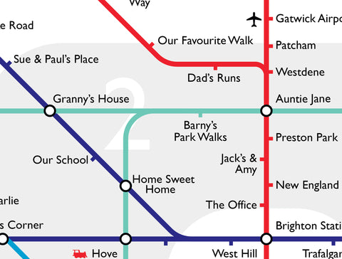Brighton Tube Map - Personalised!  Personalise this classic design for family and friends. Swap out up to 10 stops, for names of your own.