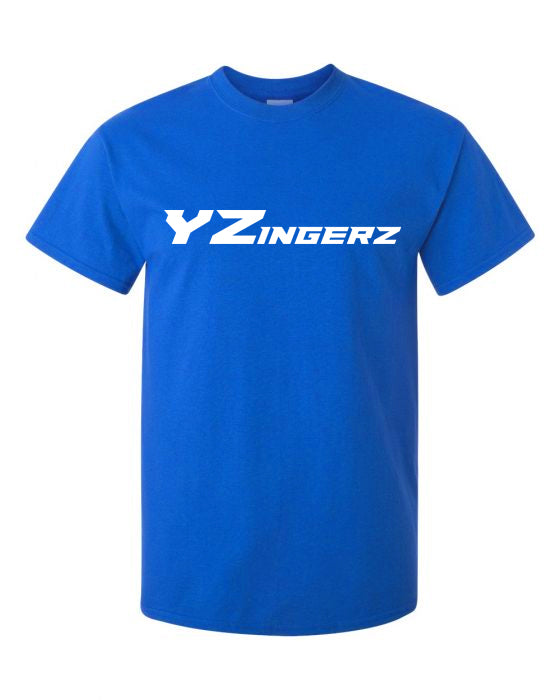 YZingerz Men's Short Sleeve T Shirt (Blue) - White Logo
