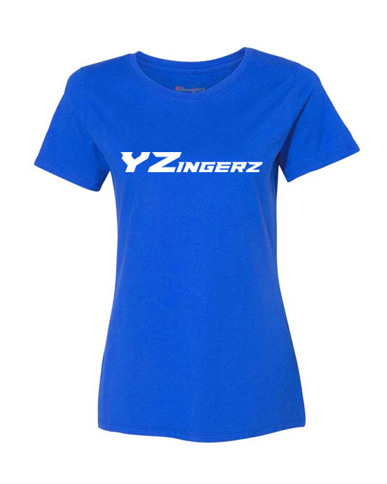 YZingerz Women's Short Sleeve T Shirt (Blue) - White Logo