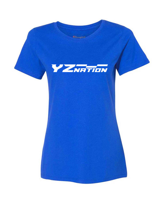 YZnation Women's Short Sleeve T Shirt (Blue) - White Logo
