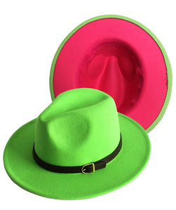 Ms. Pretty Pink and Green Fedora Hat