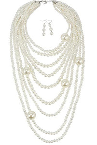 Ms. Pearl multi strand necklace and earring set