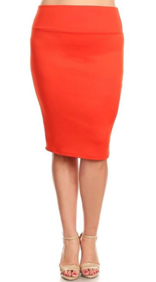 Ms. Powerful Red Pencil Skirt (plus size only)