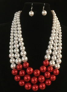 She's powerful Red and Cream necklace and earrings set