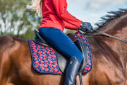 Poppy Print Saddle Pad - Navy & Red