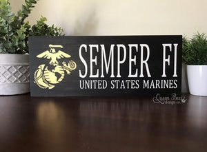 US Marine Semper Fi Wood Sign - The Queen Bee Company