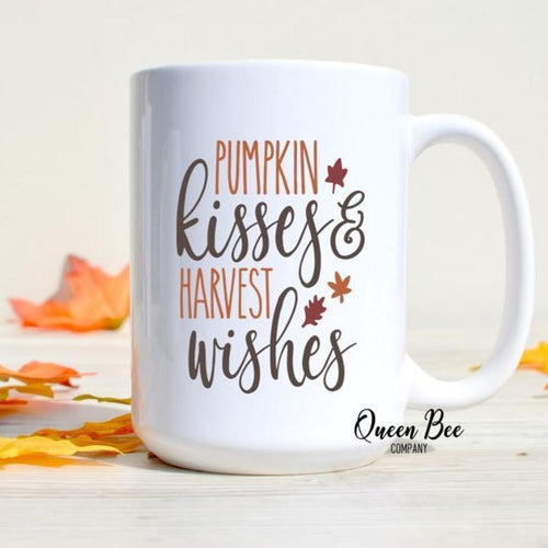 Pumpkin Kisses & Harvest Wishes Coffee Mug - The Queen Bee Company