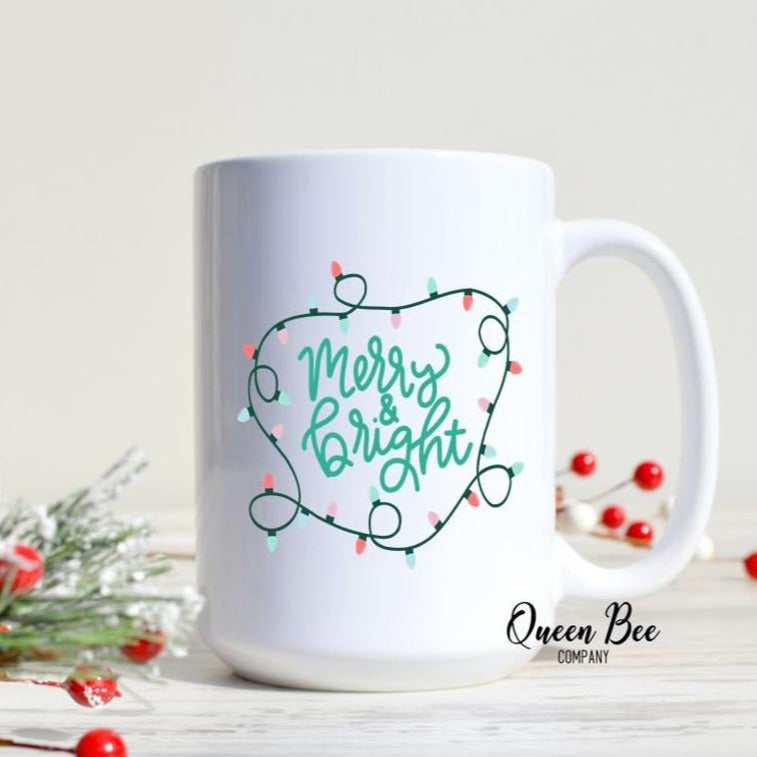 Merry & Bright Christmas Lights Mug - The Queen Bee Company